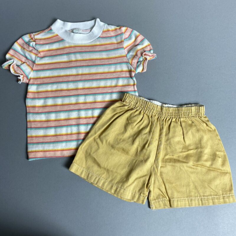 Vintage 70s/1970s Toddler Girl 3T Striped T-Shirt & Tan Shorts Set Summer Outfit