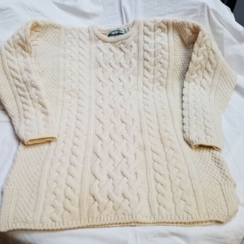 Vintage AranCrafts Cable Knit Sweater Merino & Cashmere Womens Size Med Ireland