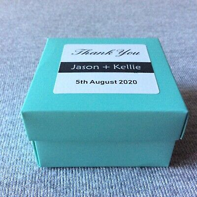 Personalized Wedding Favor Boxes (40 Personalized Minty Wedding Favor Boxes With Thank You Gift Stickers)