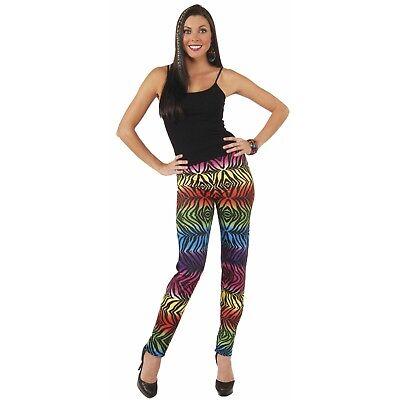 Women's Neon Rainbow Tiger Print Animal Leggings Pants Costume Lisa Frank - Women Tiger Costumes