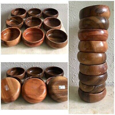 "Teak Vintage Teak Wood Bowl 9 Piece Set Made Philippines Rare. 3 3/4"" Size Bowls"