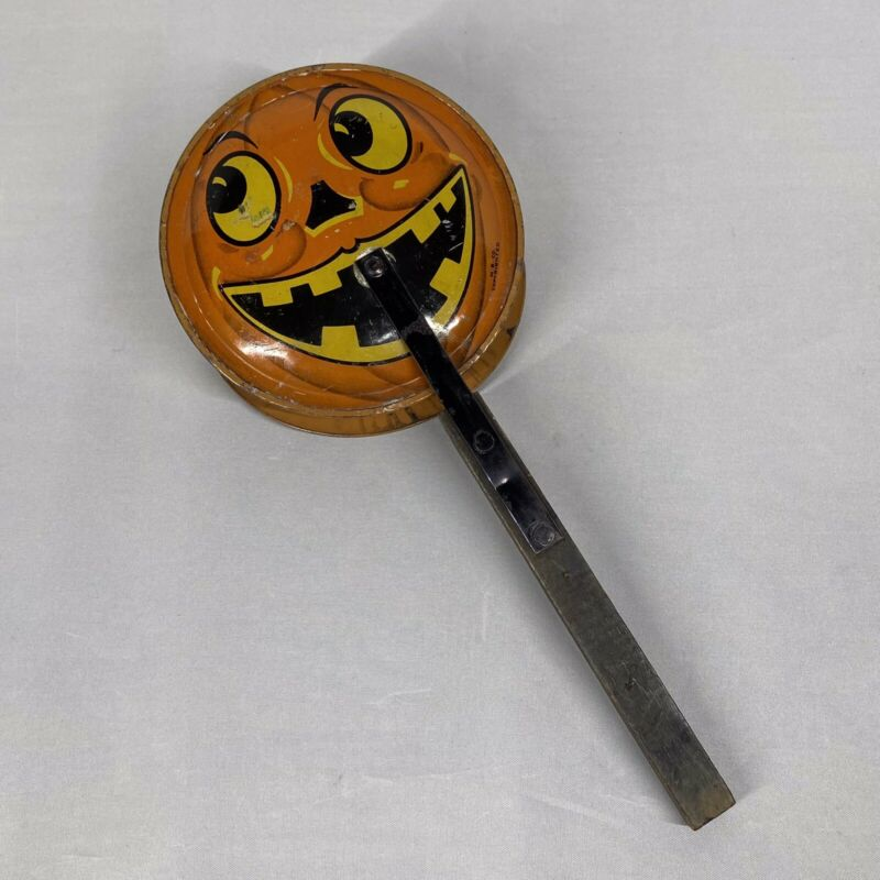 Vintage Dual Sided Smiling JOL Clapper Halloween Tin Noisemaker by M. B. Co.