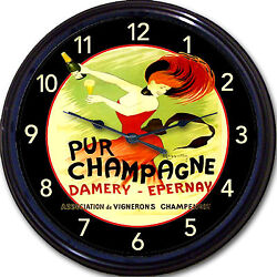 Champagne Paris France French Poster Vintage Ad Pur Epernay  Wall Clock Damery