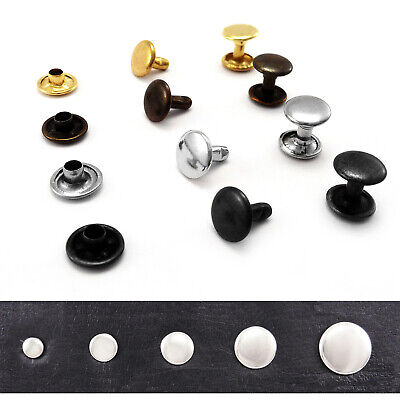 Double cap rivets 4.5 6 7 9 or 11 mm Studs Leather craft rapid repair