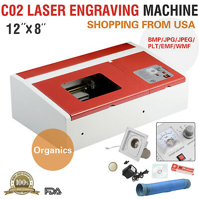 40w 12x8 Usb Co2 Laser Engraver Cutter Engraving Cutting Machine Red