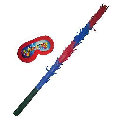 Pinata Buster Stick Blindfold Smash Party hitting bat mask boys bash Red Blue UK