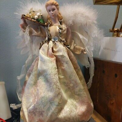 """Angel Tree Topper Christmas Gold White 15"""" Table Top Decor Feather Wings"""