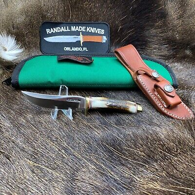 Randall Model 3 Miniature Knife With Stag Handles & Leather Sheath / Pouch Mint