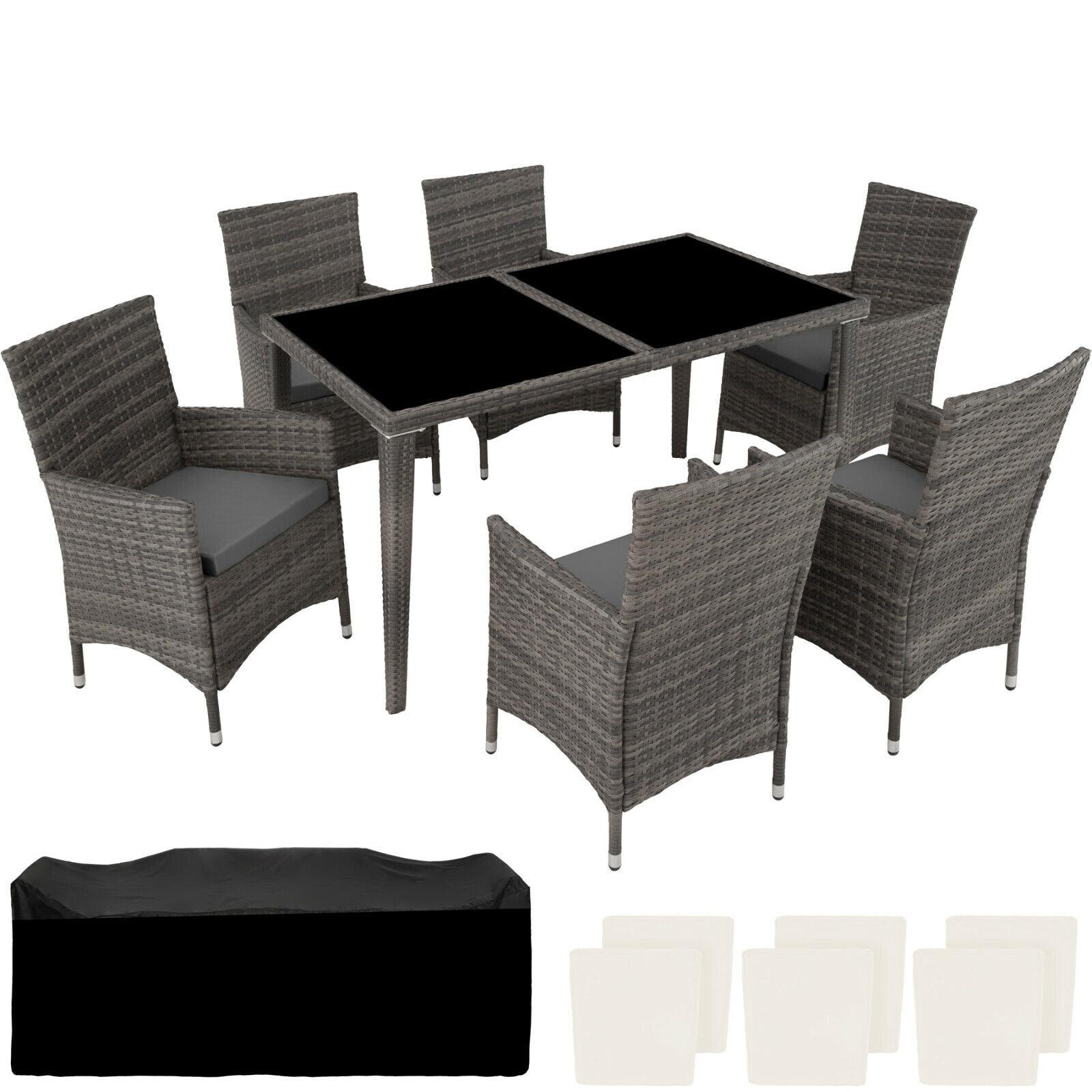 Poly Rattan Aluminium Gartenmöbel Essgruppe Sitzgruppe Gartengarnitur 6+1 grau