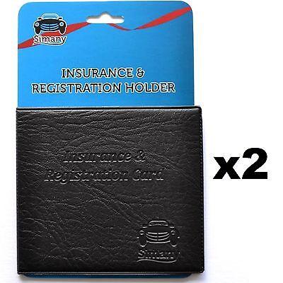 2 Black CAR INSURANCE REGISTRATION HOLDER WALLET 5.25