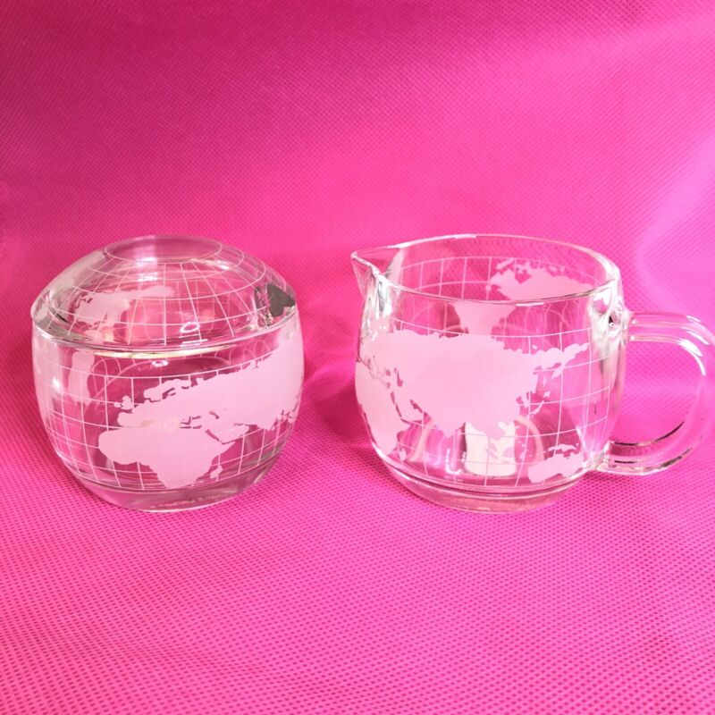 1970s Nestle Nescafe Clear Etched Glass World Globe Sugar & Creamer Set (AD)
