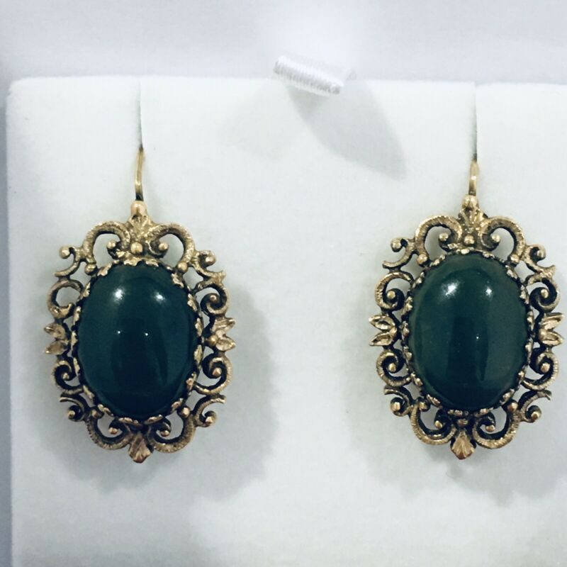Vintage Earrings,,  Large Rare Jade 14k