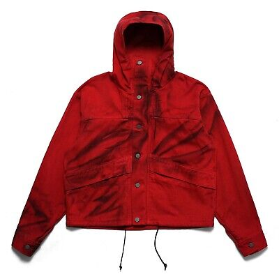 $950 424 ON FAIRFAX Cropped Red Denim painted Anorak Parka fourtwofour armband
