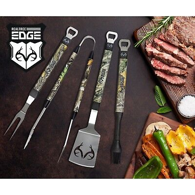 BBQ Grilling Tools 4 Piece Stainless Steel Grill Utensils RealTree Edge CAMO  4 Piece Barbeque Grill