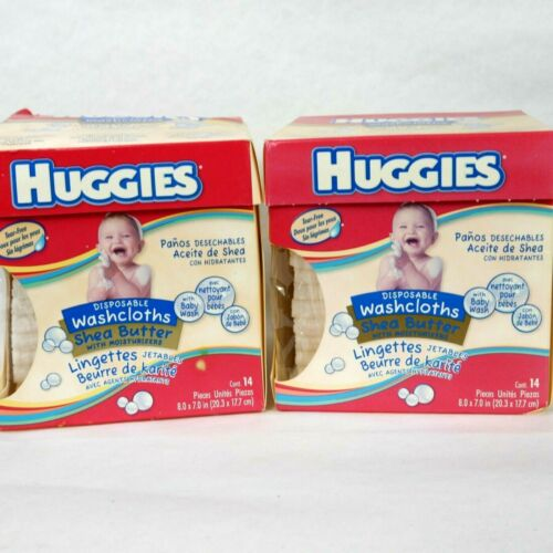 2 pack of HUGGIES disposable washcloths w/ baby wash Shea butter 14 per box