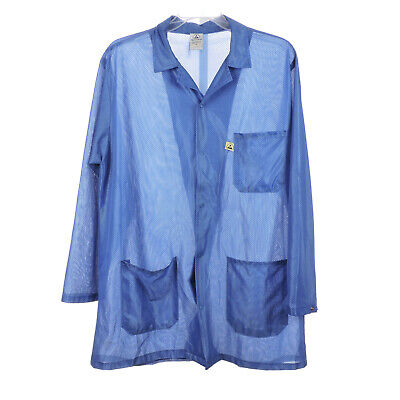 TechWear Anti-Static Lab Coat Long Sleeves Front Pockets Tech Jacket Size (Front Lab Coat)