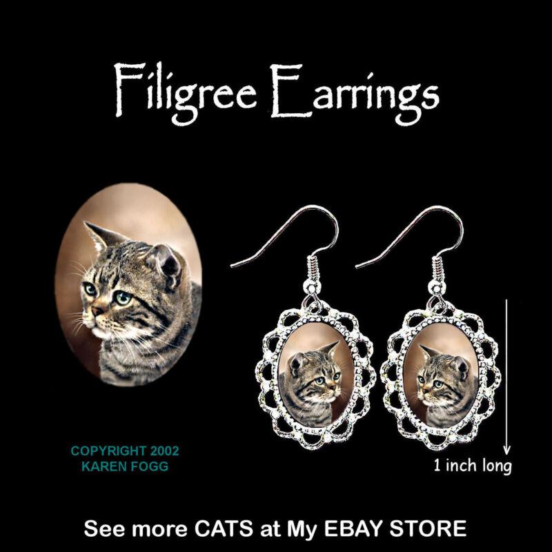 TABBY AMERICAN SHORTHAIR Striped Cat - SILVER FILIGREE EARRINGS Jewelry