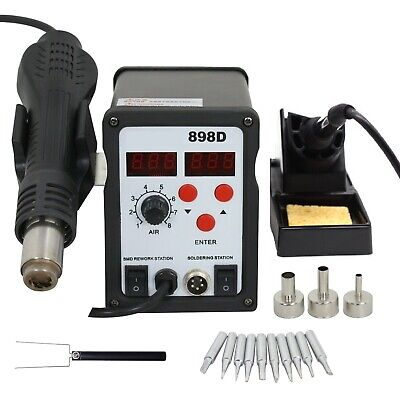 898d 2-in-1 Electric Smd Soldering Station Hot Air Heat Gun 110v With 11 Tips