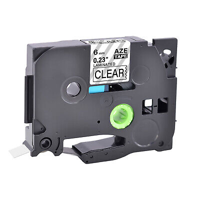 1pk 6mm Label Tape For Brother Black On Clear Tz 111 Tze 111 Pt-p750w Printer