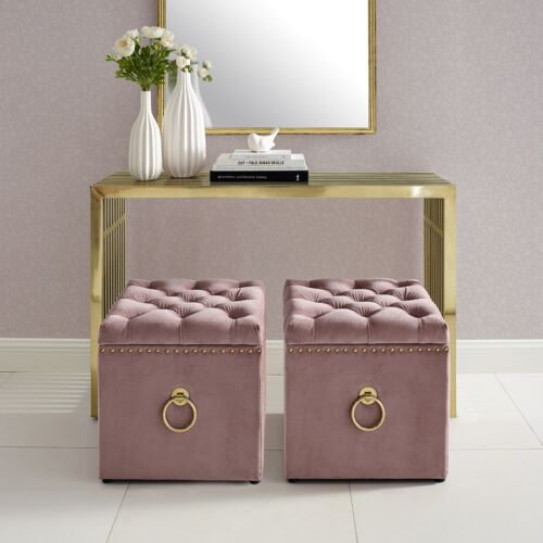 Velvet or Linen Ottoman Bench Storage Cube Coffee Table Nail