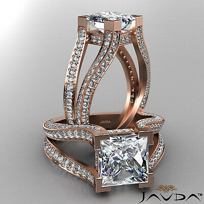 Circa Halo Split Shank Princess Diamond Engagement Pave Set Ring GIA H VS2 2.4Ct 8