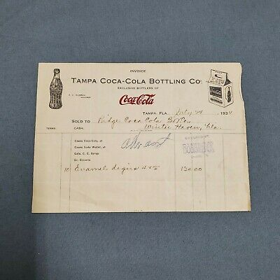 1934 Coca-Cola Bottling Co. Receipt Invoice Enamel Signs Tampa Florida
