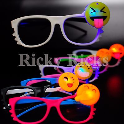 12 PCS LED Emoji Glasses Light Up Shades Flashing Rave Wear Party Favors Costume