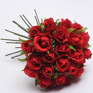 26 Heads/Bunch Artificial Silk Flower  Roses Posy Wedding Bridal Bouquet Flowers