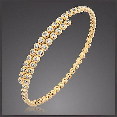 Damen Armreif Armspange Tennisarmband 925 Sterling Silber Gelb Gold Vg Zirkonia