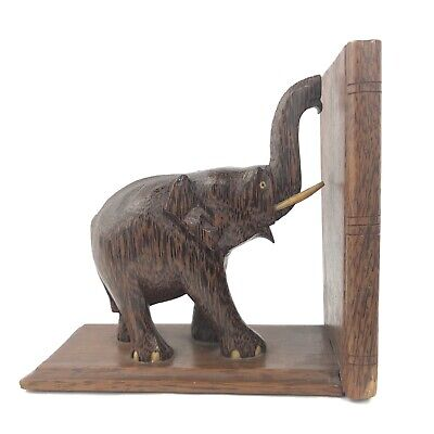 Used, Vtg Hand Carved Wooden Elephant Bookend Dovetail Solid Oak Made In Ceylon for sale  Marietta
