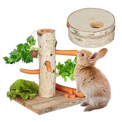 Kaninchen Spielzeug Set, Meerschweinchen Futterbaum, Hasen Beschäftigung Holz