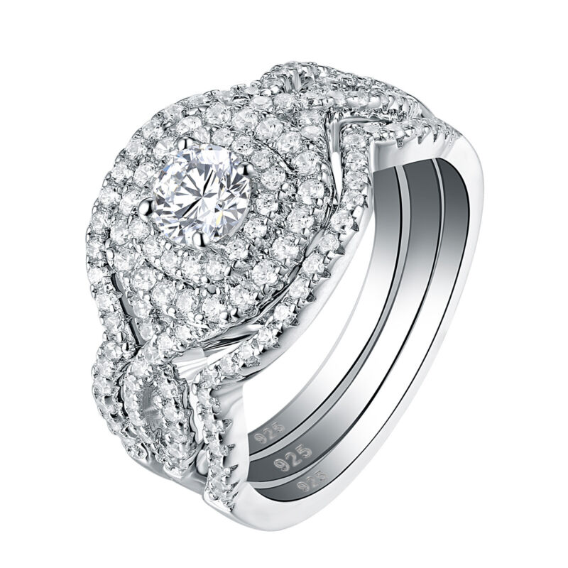 Engagement Wedding Ring Set For Women 925 Sterling Silver 3pcs 2ct White Aaaa Cz
