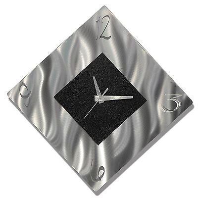 Silver & Black Modern Metal Wall Art Clock, Abstract Accent Clock - Jon Allen