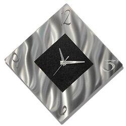 Silver & Black Modern Metal Wall Art Clock, Abstract Accent Clock - Jon Allen