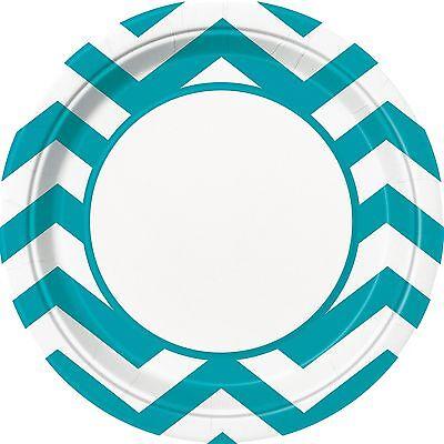 8 Caribbean Teal Blue White Chevron ZigZag Birthday Party Large 9
