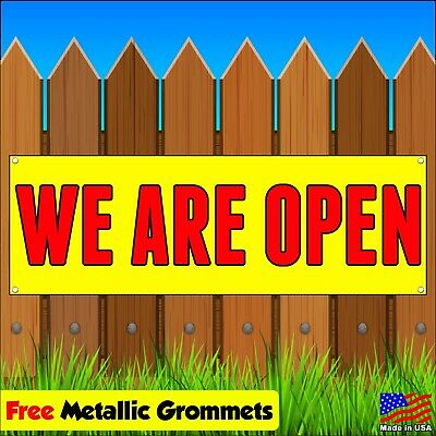 We Are Open Vinyl Banner Flag Sign Advertising W Grommets Many Sizes