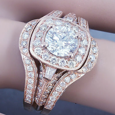 GIA H-VS2 14k Rose Gold Round Cut Diamond Engagement Ring And Bands 2.70ctw 11