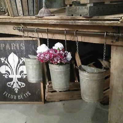 Hanging Antique Style Metal Garden Half Bucket Planter Pot with Rod