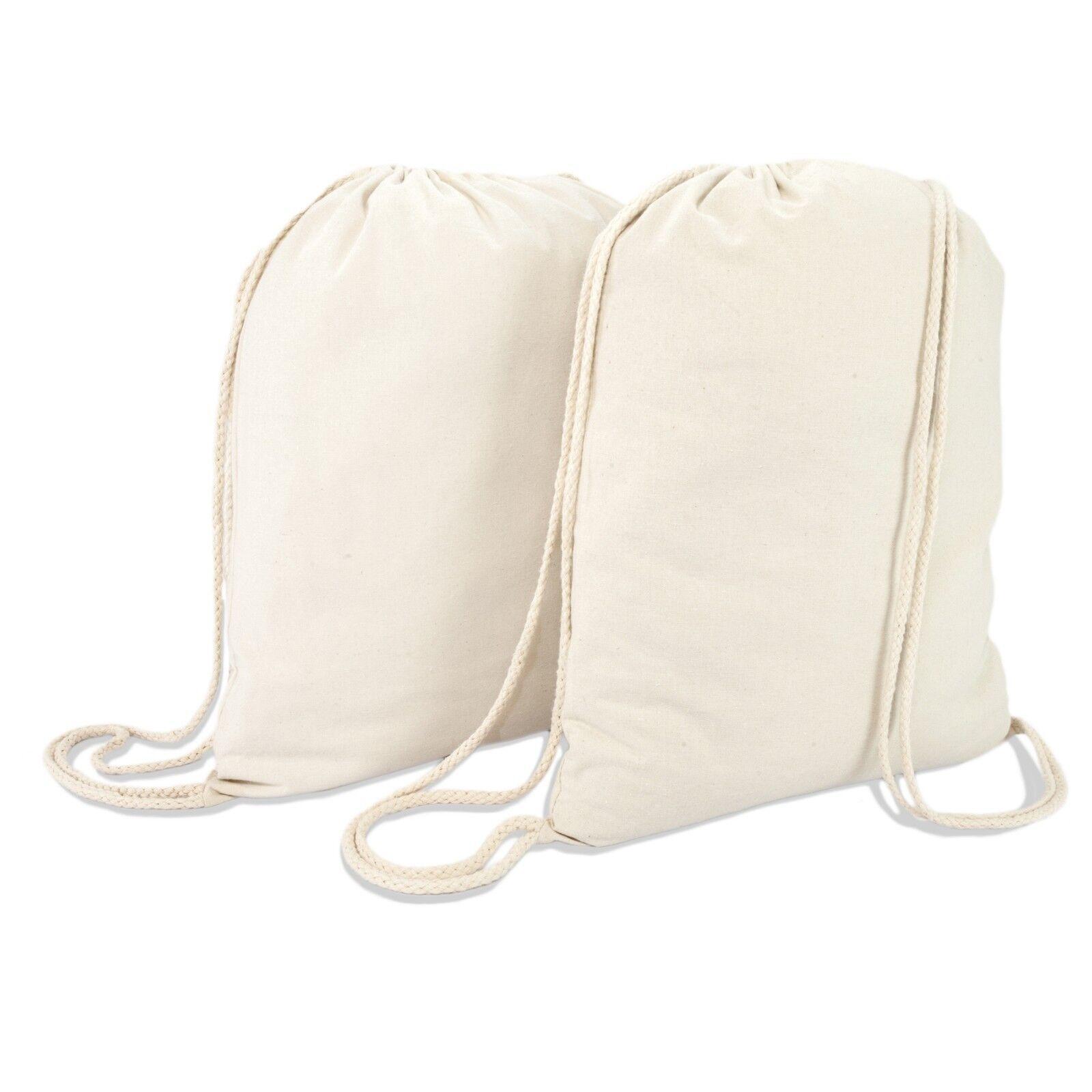 DALIX Canvas Drawstring Bag String Backpack Gym Mens Womens