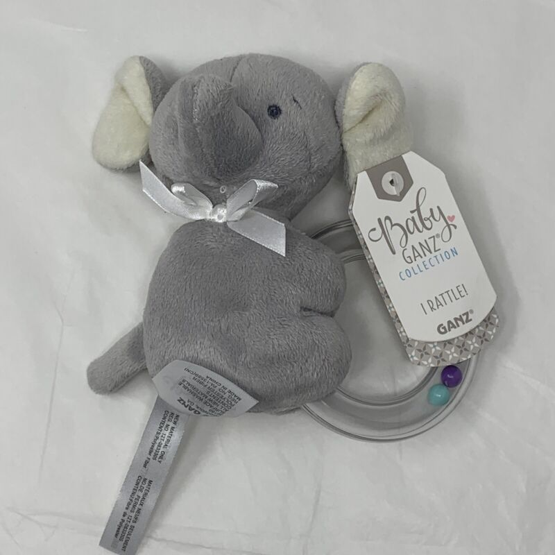 Baby GANZ Rattle Emerson Elephant Ring Plush Infant Toy