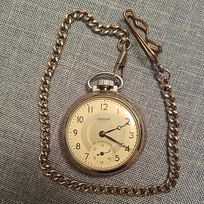 Vintage Ingersoll Buck Mechanical Wind Up Pocket Watch - working