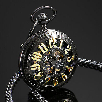 - ESS Mens Pocket Watch Mechanical Black Dial Stainless Steel Half Hunter Chain