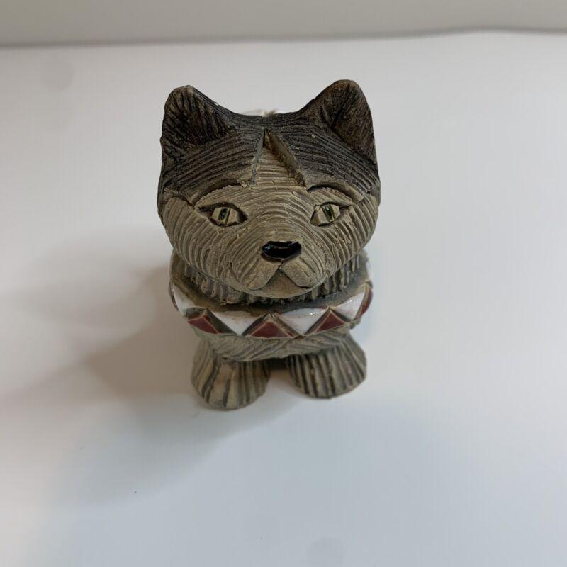 Vintage Artesania Rinconada Art Pottery Siberian Husky Brown/White Collar