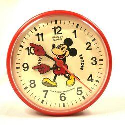 Vintage Walt Disney MICKEY MOUSE Bradley Quartz Small 6 Red Wall Clock RARE HTF
