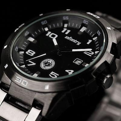 INFANTRY Mens Quartz Wrist Watch Date Gunmetal Black Stainless Steel Sport Army
