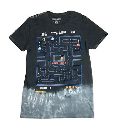 Pac-Man Slim Fit Tie-Dye 2D Style Game Over T-Shirt Mens Sz Small Black Pacman