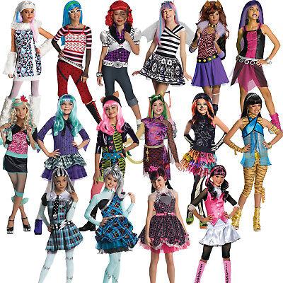 Official Child Girls Monster High Kids New Fancy Dress Halloween Costume & Wig