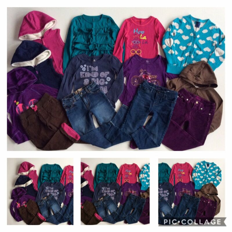 GIRLS SIZE 4T ~ HUGE LOT CLOTHES OUTFITS JEANS HOODIES BABY GAP OLD NAVY LEVI'S