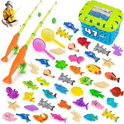 Magnetic Fishing Game 47 pcs,Kids Toys for Table, Bathtub, Pool, Floor, 3 and Up