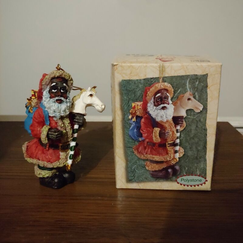 Black Santa Clause Christmas Tree Holiday Ornament